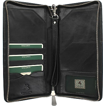 Visconti Monza Collection WING Leather Travel Wallet With Wrist Strap MZ101 Black