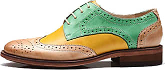 MGM-Joymod Womens 21025 Classic Lace-up Casual Vintage Simple Comfortable Perforated Wingtip Brogues Oxfords Flats Dress Leather Shoes (Yellow Green) 6.5 M UK