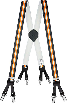Xeira Mens Braces X Shape with 8 Clips and Leather Straps - Multicolour - One size
