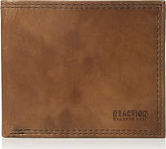 Kenneth Cole Reaction Mens RFID Leather Extra Capacity Slimfold Wallet, Brown, One Size