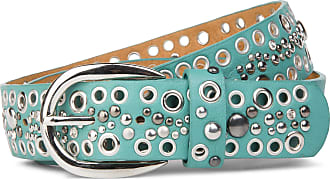 styleBREAKER studded belt with tubular rivets and rhinestones in vintage style, shortenable 03010026, size:100cm, color:Turquoise