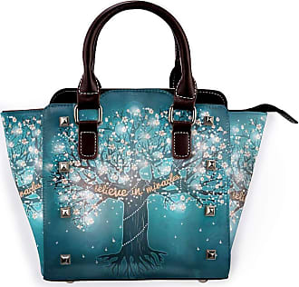 Browncin Firefly Blooming Tree Of Life With Believe In Miracles Message And Flowers Detachable Fashion Trend Ladies Handbag Shoulder Bag Messenger Bags