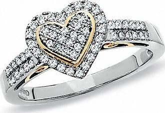 Zales 1/3 CT. T.w. Diamond Pavé Heart Ring in 10K Two-Tone Gold