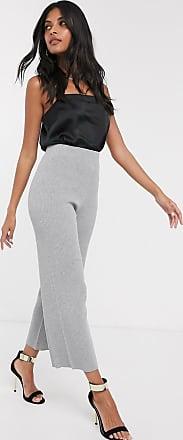 Fashion Union Pantalones de pernera ancha de punto de Fashion Union-Gris