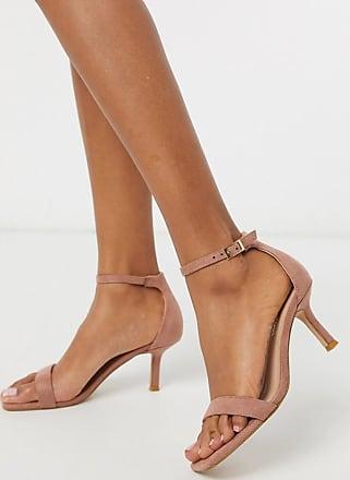 Glamorous Sandalen mit Kitten-Heel-Absatz und eckiger Zehenpartie in gehauchtem Rosa