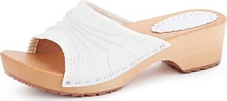 Ladeheid Women´s Wood Shoes Clogs Flipflops LABR310 (White, 7.5 UK)