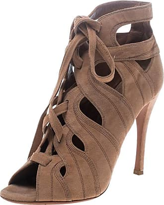 f1c03f6af2f 1stdibs Alaia Beige Cut Out Suede Lace Up Peep Toe Ankle Booties Size 36.5