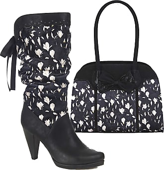 Ruby Shoo Womens Black Athena Rouched High Heel Boots & Matching Denver Bag UK 4