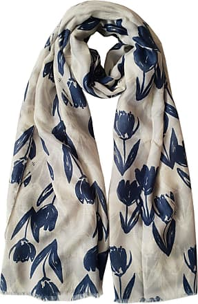 GlamLondon Womens Floral Tulips Print Scarf (Blue Navy)(Size:L)