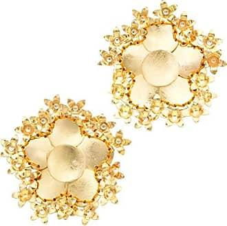 Tinna Jewelry Brinco Dourado Flor 5 Pétalas Caseadas Com Florzinha