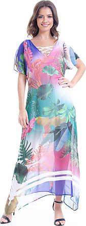 101 Resort Wear Vestido 101 Resort Wear Longo Estampado Folhas Coloridas
