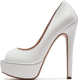 EDEFS Womens Peep Toe 15CM Stilettos Platform Pumps Dress Party Slip On Sandals Matte White EU40