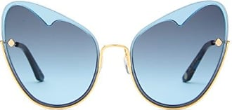 Moy Atelier Moy Atelier - Naked Heart Cat-eye Gold-plated Sunglasses - Womens - Blue