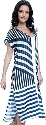 101 Resort Wear Vestido 101 Resort Wear Kaftan Festa Midi Listrado Preto Branco