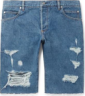 Balmain Slim-fit Logo-embroidered Distressed Denim Shorts - Blue