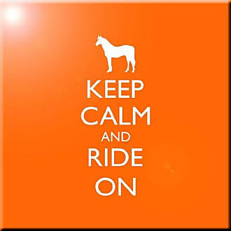 Rikki Knight Keep Calm and Ride on Orange Color Design Art Ceramic Tile, 4 by 4-Inch