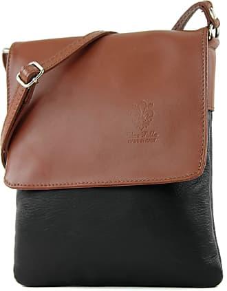 modamoda.de ital leather shoulder bag Messenger bag ladies small T 34, Colour:Black/Brown