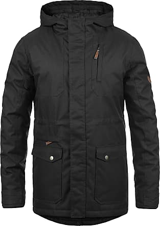 Solid Bello Mens Parka Outdoor Jacket Winter Coat with Hood, Size:L, Colour:Black (9000)