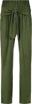 OLYMPIAH front tie straight trousers - Green