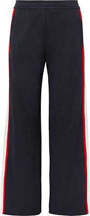 Tory Sport Striped Jersey Wide-leg Track Pants - Navy