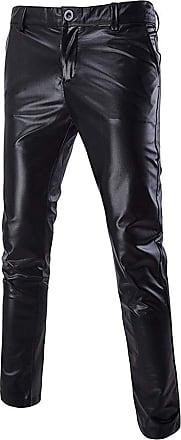 Hellomiko Men Fashion Night Club Casual Joggers Bright Bronzing Leather Pants Men Trousers Pants Black 3XL