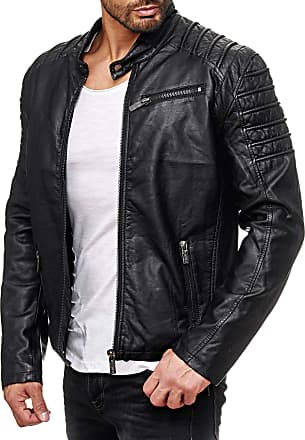 Threadbare Mens Rebel PU Leather Jacket Fully Lined Smart Pleather Bomber Coat