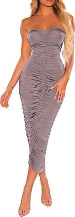 QIYUN.Z Off Shoulder Ruched Sexy Summer Dress Women Backless Bodycon Mini Dress Brown 2XL