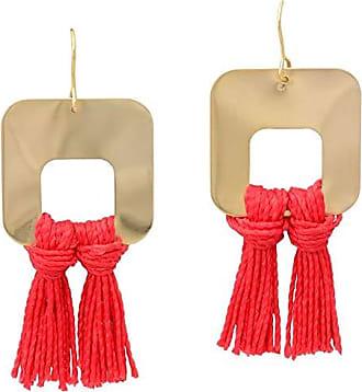 Tinna Jewelry Brinco Dourado Franja (Vermelho)