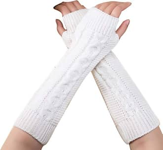 Laisla Fashion Unisex Winter Knitted Wrist Arm Hand Warmers Classic Knitted Sleeves Length Fingerless Gloves For Presents Christmas Gifts (Color : White, One Size :