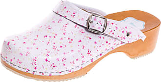 FUTURO FASHION Womens Healthy Natural Genuine Leather Wooden Sole Plain Clogs Unisex Colours, White/Pink Flowers, 8 UK