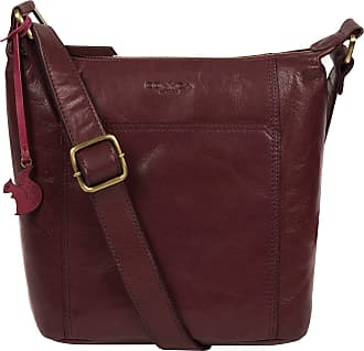 Pure Luxuries London Concka London Yasmin Womens 25cm Biodegradable Leather Cross Body Bag with Zip Over Top, 100% Cotton Lining and Adjustable Leather Strap in Plum B247