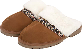 Jessica Simpson Womens Genuine Suede Plush Slip On Scuff House Slipper with Indoor/Outdoor Sole (Tan, Size 9)