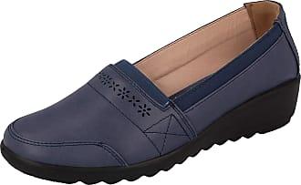 Cushion-Walk Womens Syreeta Slip On Elastic Paneled Stitching Raised Shoes UK 3-8 (UK 4, Navy)