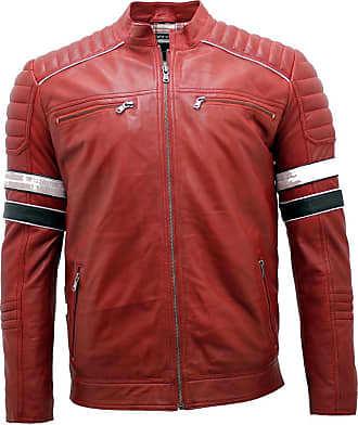 Infinity Mens Racing Red Leather Biker Jacket L