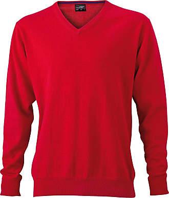 James & Nicholson JN659 Mens V Neck Pullover Jumper red Size XXL