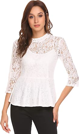 Zeagoo Womens Casual Tops Lace Blouse 3/4 Sleeve Sheer Floral Frill Shirts White