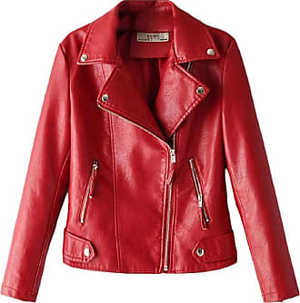 VITryst Womens Regular-Fit Oblique Zipper Patent Leather PU Moto Jacket Coat Outerwear,Red,X-Small
