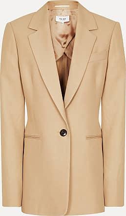 Reiss Ada - Linen Blend Single Breasted Blazer in Camel, Womens, Size 16