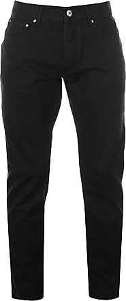 Firetrap Mens Rom Jeans Casual Cotton Trousers Pants Slightly Distressed Look Black Wash 36W R
