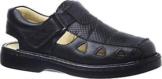 Doctor Shoes Antistaffa Sandália Masculina 302 em Couro Floater Preto/Serpente Preto Doctor Shoes-Preto-40