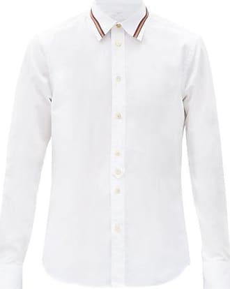 Paul Smith Artist-stripe Collar Cotton-poplin Shirt - Mens - White
