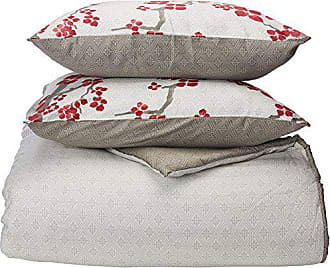 Natori Cherry Blossom Queen Size Bed Comforter Set - Red, Grey, Cherry Blossom - 4 Pieces Bedding Sets - 100% Cotton Sateen Bedroom Comforters