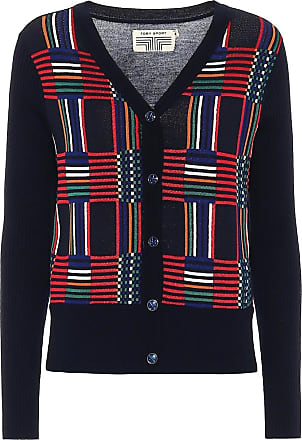 Tory Sport Checked wool-jacquard cardigan