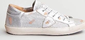 Reposi Calzature PHILIPPE MODEL Sneakers in pelle effetto vintage traforata argento