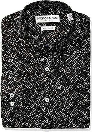 Nick Graham Everywhere Mens Allover Dot Print Dress Shirt, Black, 14-14.5 Neck 32-33 Sleeve