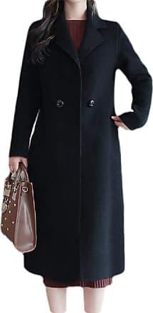 H&E Womens Winter Warm Lapel Two Button Wool Blended Long Jacket Coat Black XXS