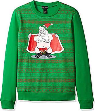Alex Stevens Mens Jingle Balls Santa Ugly Christmas Sweater, Green, Medium