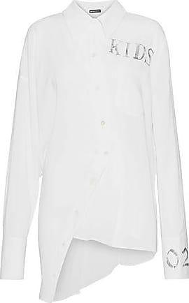 Ann Demeulemeester Ann Demeulemeester Woman Assymmetric Printed Cotton Tunic White Size 34