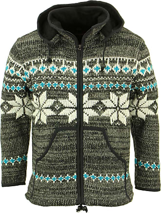 Loud Elephant Chunky Wool Knit Hooded Cardigan Jacket - Grey Brown Fairisle (XX-Large)