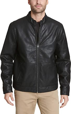 Dockers Dockers Mens The Dylan Faux Leather Racer Jacket, Black, Medium